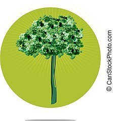 Illustration of a tree with green circle background