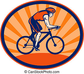 Triathlon athlete riding cycling bike - illustration of a ...