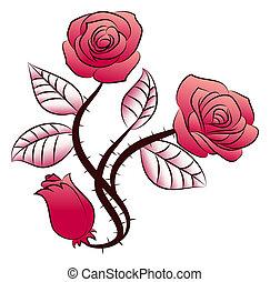triple rose flowers tattoo - illustration of a triple rose...