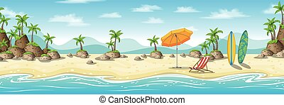 Illustration of a tropical coastal landscape with deckchair,...