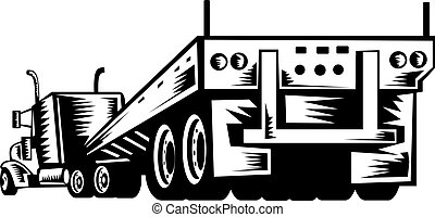 truck and trailer viewed from the rear - illustration of a...