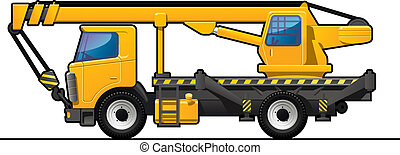 truck crane - illustration of a truck crane . Simple...