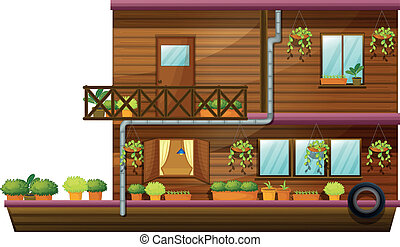 two stored house - illustration of a two stored house on...