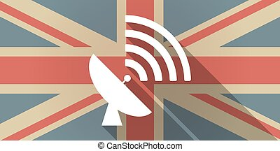 UK flag icon with a satellite dish