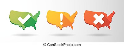 USA map survey icon set