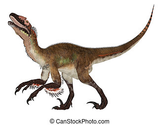 Utahraptor - Illustration of a Utahraptor (dinosaur species)...