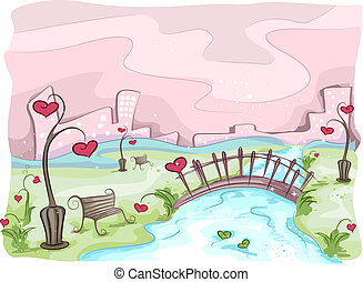 Illustration of a Valentine Scene with the Silhouette of a City in the Background