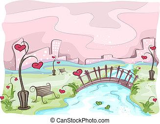 Valentine Scene - Illustration of a Valentine Scene with the...