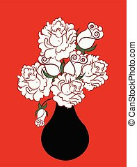 illustration of a vase with roses