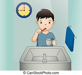 A vector illustration of a boy brushing his teeth