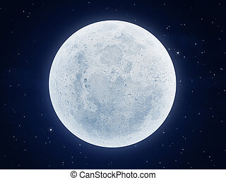 moon at night - illustration of a very large moon at night