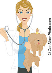 Veterinarian - Illustration of a Veterinarian Examining a...