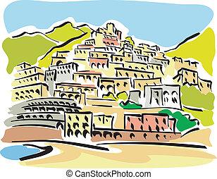 Positano - illustration of a view of Positano