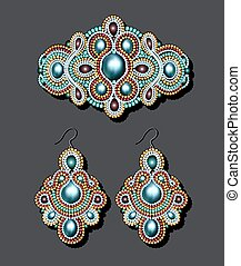Illustration of a vintage brooch of beads and earrings with pearls