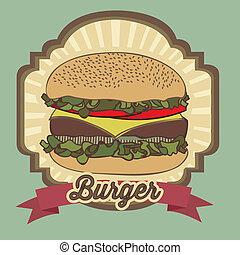 illustration of a vintage burger, fast food, vector illustration