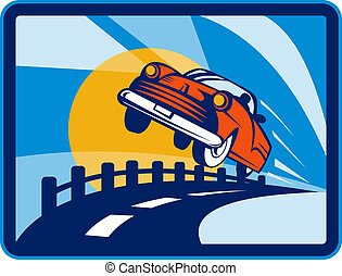 vintage convertible car flying off the road - illustration...