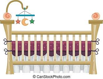 Vintage Crib - Illustration of a Vintage Crib Framed by a...