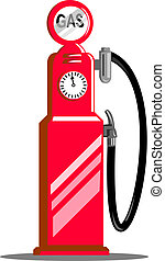 Vintage gasoline pump station - illustration of a Vintage...