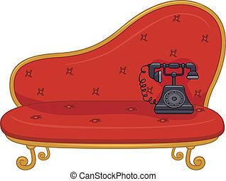 Vintage Phone - Illustration of a Vintage Phone on a Sofa