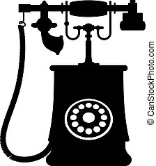 Illustration of a vintage rotary dial telephone - Black and...