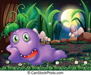 Illustration of a violet monster resting under the tree in...