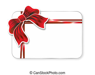 ribbon - illustration of a voucher decorated with red ribbon