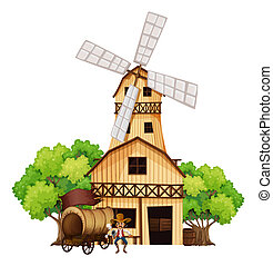 Illustration of a wagon with an armed gunman standing infront of the wooden house on a white background