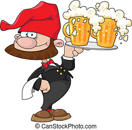 illustration of a waiter gnome with beer