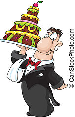 waiter with cake