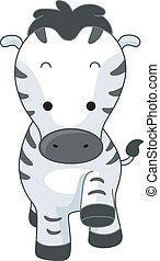 Zebra - Illustration of a Walking Zebra