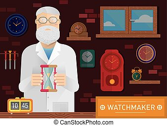 illustration of a watchmaker in the workplace with  clock on the wall