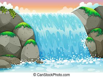 waterfall - Illustration of a waterfall