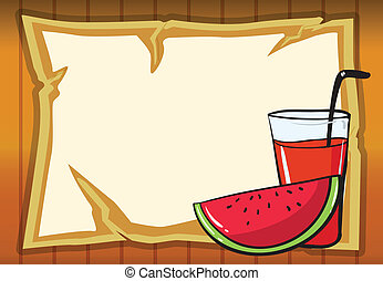 a watermelon and juice