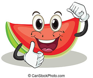 watermelon - illustration of a watermelon on a white ...