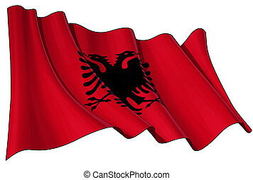 Illustration of a Waving Albanian Flag