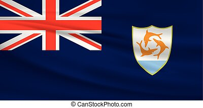 Illustration of a waving flag of the Anguilla