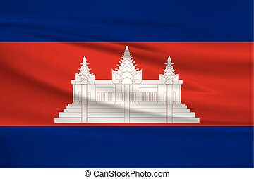 Illustration of a waving flag of the Cambodia
