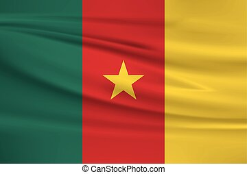 Illustration of a waving flag of the Cameroon
