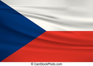 Illustration of a waving flag of the Czech Republic