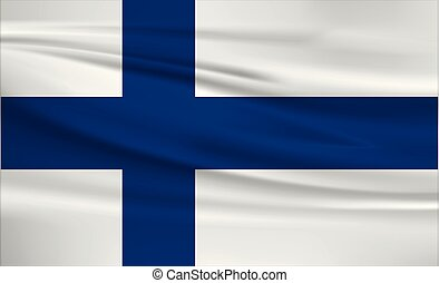 Illustration of a waving flag of the Finland