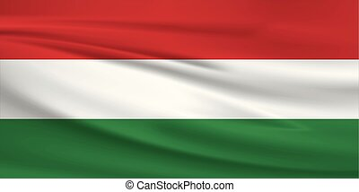 Illustration of a waving flag of the Hungary