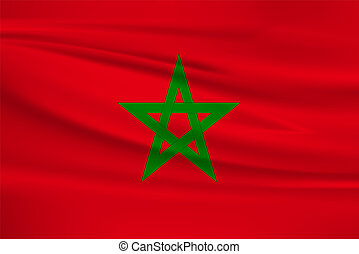 Illustration of a waving flag of the Morocco