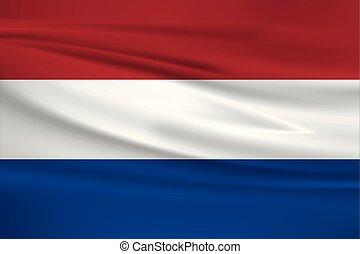 Illustration of a waving flag of the Netherlands