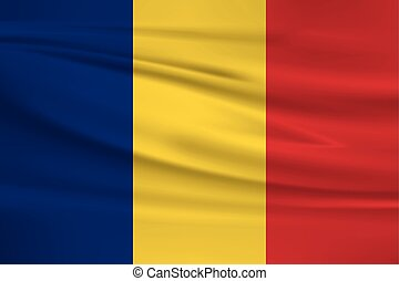 Illustration of a waving flag of the Romania