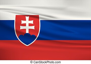 Illustration of a waving flag of the Slovakia