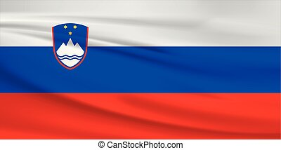 Illustration of a waving flag of the Slovenia