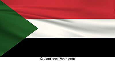 Illustration of a waving flag of the Sudan
