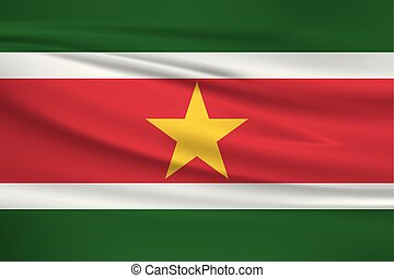 Illustration of a waving flag of the Suriname