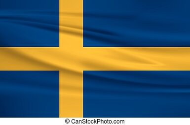 Illustration of a waving flag of the Sweden