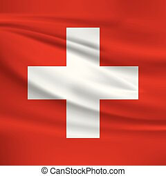 Illustration of a waving flag of the Switzerland
